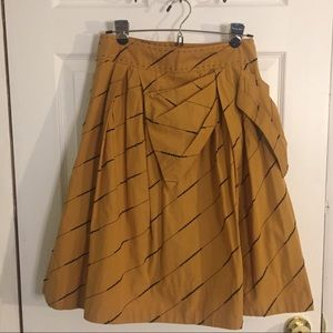Anthropologie Floreat Mustard Skirt Pinup Vintage